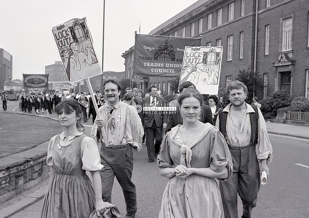 150th anniversary of the Derby silk mill lockout, May Day parade, Derby 5 May 1984 UK. In 1833/84 workers went on strike over the sacking of an employee and brought national attention to the unionist cause for the first time.