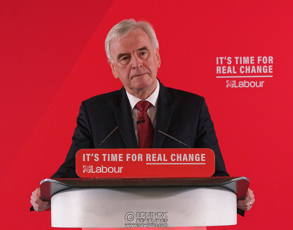 London, United Kingdom - 9 December 2019<br /> John McDonnell gives an economics speech in the run up to the general election 2019, on behalf of the Labour Party at Coin Street Community Builders, London, England, UK.<br /> (photo by: EQUINOXFEATURES.COM)<br /> Picture Data:<br /> Photographer: Equinox Features<br /> Copyright: ©2019 Equinox Licensing Ltd. +443700 780000<br /> Contact: Equinox Features<br /> Date Taken: 20191209<br /> Time Taken: 11404209<br /> www.newspics.com