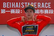 Podium Dylan Groenewegen (NED - Team LottoNL - Jumbo) red leader jersey during the Tour of Guangxi 2018, stage 1, Beihai - Beihai 107,4 km on October 16, 2018 in Beihai, China - Photo Luca Bettini / BettiniPhoto / ProSportsImages / DPPI