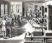 Eighteenth century printing workshop.  On the left the compositors are selecting type from 'cases'.  In the right foreground a man is inking type locked in a chase ready for the next sheet to be printed, while the man next to him is inspecting the sheet of paper that has just been in the press before putting it on the pile in front of him.  Engraving from 'Die so nothig nussliche Buchdrukerkunst und Scrhiftgickrei' by Johann Erhard Kappens (Leipzig, 1740).