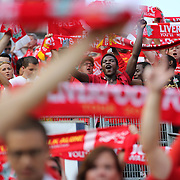Liverpool fans singing You'll Never Walk Alone during the Manchester City Vs Liverpool FC Guinness International Champions Cup match at Yankee Stadium, The Bronx, New York, USA. 30th July 2014. Photo Tim Clayton