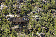 Sinagua Indian ruins in an alcove in the Kaibab Limestone in Walnut Canyon National Monument