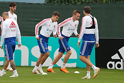 MOSCOW, July 4, 2018  Players of Russia attend a training session in Moscow, Russia, on July 4, 2018. Russia will face Croatia in a quarter-final match of the 2018 FIFA World Cup on July 7. (Credit Image: © Bai Xueqi/Xinhua via ZUMA Wire)