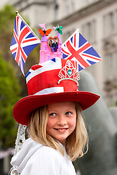 Birmingham, UK  29/04/2011. The Royal Wedding of HRH Prince William to Kate Middleton. People gathered in Victoria Square, Birmingham to watch the Royal Wedding on the big screen. Aoife Herring (10), from Moseley in Birmingham in a hat she made for the big day. Photo credit should read Dave Warren/LNP. Please see special instructions. © under license to London News Pictures