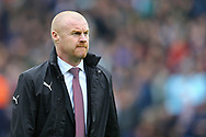 Burnley Manager Sean Dyche looks on. Premier League match, Burnley v Tottenham Hotspur at Turf Moor in Burnley , Lancs on Saturday 1st April 2017.<br /> pic by Chris Stading, Andrew Orchard sports photography.