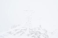 Snow whiteout on summit of Schneibstein (2276 m),  Hagengebirge, Berchtesgaden Alps, Germany - Austria