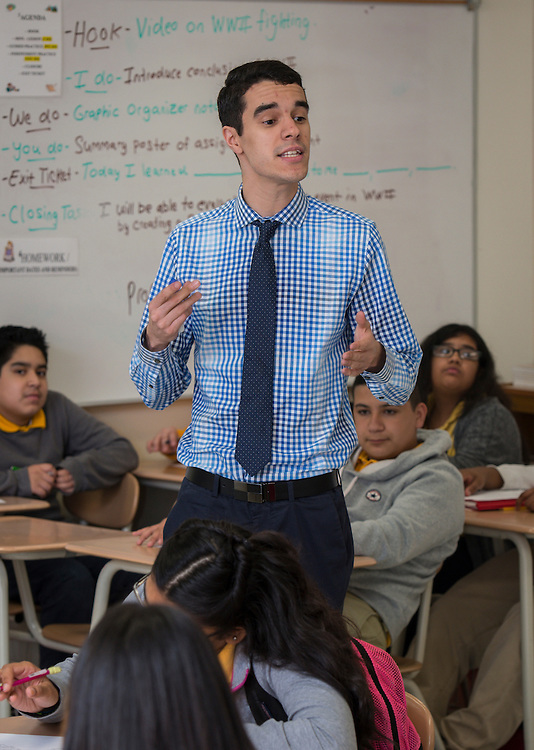 Jose Cordova teaches history at Welch Middle School, April 28, 2015.