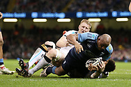 Taufa'ao Filise of Cardiff Blues scores a try in the 2nd half. Guinness Pro12 rugby match, Judgement day, Cardiff Blues v Ospreys  at the Principality Stadium in Cardiff, South Wales on Saturday 15th April 2017. <br /> pic by Andrew Orchard, Andrew Orchard sports photography.