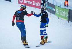 Karl Benjamin and Coratti Edwin during the FIS snowboarding world cup race in Rogla (SI / SLO) | GS on January 20, 2018, in Jasna Ski slope, Rogla, Slovenia. Photo by Urban Meglic / Sportida