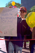 Young man age 11 at Exchange Charities Youth Festival.  Minneapolis  Minnesota USA