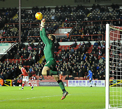 Bristol City goalkeeper, Frank Fielding saves a high ball in the Johnstone's Paint Trophy south area final second leg match between Bristol City and Gillingham at Ashton Gate on 29 January 2015 in Bristol, England - Photo mandatory by-line: Paul Knight/JMP - Mobile: 07966 386802 - 29/01/2015 - SPORT - Football - Bristol - Ashton Gate Stadium - Bristol City v Gillingham - Johnstone's Paint Trophy