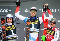 Second placed KRISTOFFERSEN Henrik of Norway, winner ZENHAEUSERN Ramon of Switzerland and third placed MATT Michael of Austria celebrate at trophy ceremony after the Audi FIS Alpine Ski World Cup Men's Slalom 58th Vitranc Cup 2019 on March 10, 2019 in Podkoren, Kranjska Gora, Slovenia. Photo by Matic Ritonja / Sportida