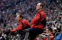 Photo: Richard Lane.<br />England v Wales. RBS Six Nations. 04/02/2006.<br />England's Lawrence Dallaglio (R) and Matt Dawson warm up on excercise bicycles.