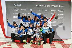 14.01.2020, Hermann Maier Weltcupstrecke, Flachau, AUT, FIS Weltcup Ski Alpin, Slalom, Damen, Siegerehrung, im Bild Petra Vlhova (SVK) mit Team // Petra Vlhova of Slovakia with her team after the winner ceremony for the women's Slalom of FIS ski alpine world cup at the Hermann Maier Weltcupstrecke in Flachau, Austria on 2020/01/14. EXPA Pictures © 2020, PhotoCredit: EXPA/ Erich Spiess
