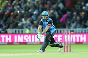 Worcestershire Rapids Ben Cox reverse sweep during the final of the Vitality T20 Finals Day 2018 match between Worcestershire rapids and Sussex Sharks at Edgbaston, Birmingham, United Kingdom on 15 September 2018.