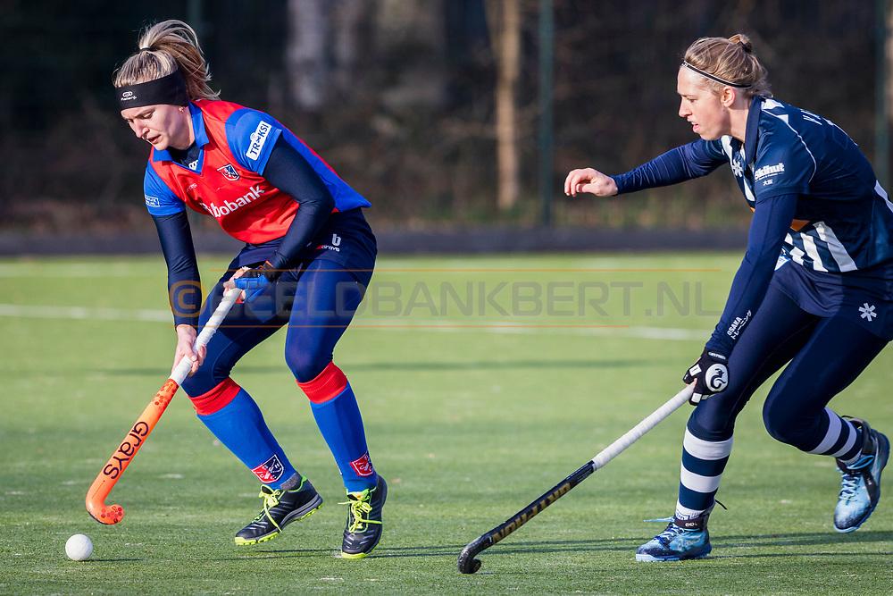 BILTHOVEN -  Hoofdklasse competitiewedstrijd dames, SCHC v hdm, seizoen 2020-2021.<br /> Foto: Laurien Leurink (SCHC) en Pien van Nes (hdm)