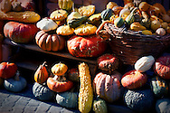 Vegetable stall in alleyway in Arqua Petrarca, Italy.