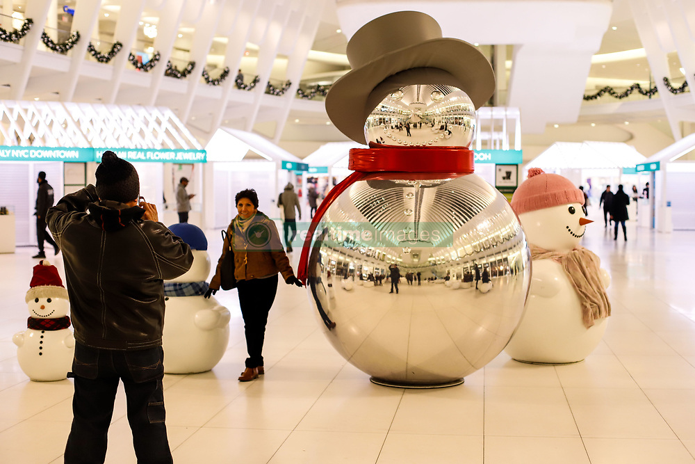 November 17, 2018 - New York, NEW YORK, UNITED STATES - Christmas decoration is seen at The Oculus World Trade Center in New York City in the United States at dawn this Sunday, 18. (Credit Image: © William Volcov/ZUMA Wire)