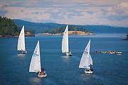Sailboats and kayaks in the Puget Sound