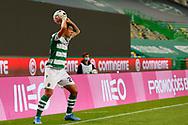 Pedro Porro for the throw during the Liga NOS match between Sporting Lisbon and Belenenses SAD at Estadio Jose Alvalade, Lisbon, Portugal on 21 April 2021.