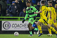 Forest Green Rovers Reuben Reid(26) on the ball during the The FA Cup 1st round replay match between Forest Green Rovers and Oxford United at the New Lawn, Forest Green, United Kingdom on 20 November 2018.