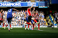 Chelsea Midfielder Willian (22) scores a goal (score 1-1) during the Premier League match between Chelsea and Sunderland at Stamford Bridge, London, England on 21 May 2017. Photo by Andy Walter.