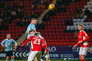 Accrington Stanley forward Billy Kee (29) heads towards goal and comes close to scoring during the EFL Sky Bet League 1 match between Charlton Athletic and Accrington Stanley at The Valley, London, England on 19 January 2019.