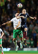 Darron Gibson of Ireland challenges Steven Naismith of Scotland  - UEFA Euro 2016 Qualifier - Scotland vs Republic of Ireland - Celtic Park Stadium - Glasgow - Scotland - 14th November 2014  - Picture Simon Bellis/Sportimage