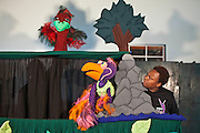 D'Anne Mahlangu with Vanda the vulture during rehearsals for 'No Monkey Business', an AREPP: Theatre for Life production providing interactive social life skills education to schoolchildren through theatre productions. They are based in Johannesburg, South Africa and are about to go on tour for 3 months doing performances everyday at schools across the country.