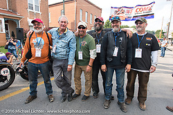 The California Cannonballers (L to R) Mark Wiebens, Victor Boocock, Mike Inglis, Dave Kafton, Mark Loewen and David Cava pose in the street at the Hosted Dinner stop on Spanish Street in Cape Girardeau, Missouri during Stage 5 of the Motorcycle Cannonball Cross-Country Endurance Run, which on this day ran from Clarksville, TN to Cape Girardeau, MO., USA. Tuesday, September 9, 2014.  Photography ©2014 Michael Lichter.
