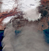 Images of Iceland's Eyjafyallajökull volcano on April 19, 2010. Figure 1 is a visible image and Figure 2 is infared. Satellite image.