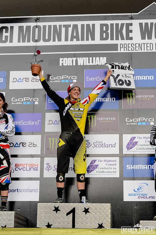 09.06.2013 Fort William, Scotland. Rachel Atherton of GT Factory Racing is crowned Queen of Fort William after winning the UCI Mountain Bike World Cup from Fort William.