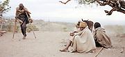 Pilgrims begging in dust storm near Lalibela, Ethiopia.