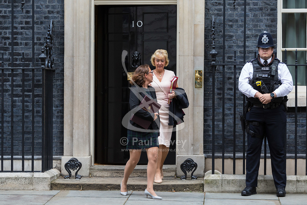 London, September 5th 2017. Lord Privy Seal and Leader of the House of Lords Baroness Natalie Evans, left and Leader of the House of Commons Andrea Leadsom leave the first UK cabinet meeting at Downing Street after the summer recess. ©Paul Davey
