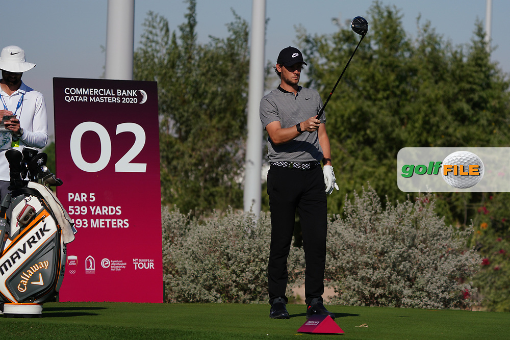 Thomas Pieters (BEL) on the 2nd during the Pro-Am of the Commercial Bank Qatar Masters 2020 at the Education City Golf Club, Doha, Qatar . 04/03/2020<br /> Picture: Golffile | Thos Caffrey<br /> <br /> <br /> All photo usage must carry mandatory copyright credit (© Golffile | Thos Caffrey)