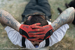 Spoke and Dagger's Chris Drew relaxing on Motorcycle Sherpa's Ride to the Heavens motorcycle adventure in the Himalayas of Nepal. On the second day of riding, we went from Nuwakot to Pokhara. Tuesday, November 5, 2019. Photography ©2019 Michael Lichter.