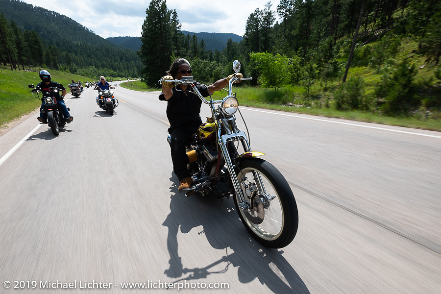 Chopper builder Masa Suzuki of MC Pecker in Japan on the Cycle Source ride down Vanocker Canyon back from Nemo to the Iron Horst Saloon during the Sturgis Black Hills Motorcycle Rally. SD, USA. Wednesday, August 7, 2019. Photography ©2019 Michael Lichter.