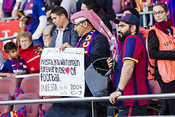 May 6, 2018 - Barcelona, Catalonia, Spain - FC Barcelona fans with banner in support to FC Barcelona midfielder Andres Iniesta (8) during the match between FC Barcelona v Real Madrid, for the round 36 of the Liga Santander, played at Camp nou  on 6th May 2018 in Barcelona, Spain. (Credit Image: © Urbanandsport/NurPhoto via ZUMA Press)