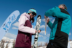 Anja Krivec of Slovenia and Branko Krasevec after Europa Cup Slopestyle Vogel 2014, on March 16, 2014 at Vogel, Slovenia. Photo by Urban Urbanc / Sportida.com
