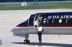 Us Airways Jet Pilot Checking Aircraft
