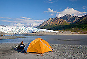 Alaska. Scenic view of camping at the face of the Matanuska Glacier, located off the Glenn Highway.