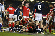 Jamie Roberts of Wales © scores his teams 2nd try.  RBS Six nations championship 2016, Wales v Scotland at the Principality Stadium in Cardiff, South Wales on Saturday 13th February 2016. <br /> pic by  Andrew Orchard, Andrew Orchard sports photography.