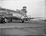 """21/01/1956<br /> 01/21/1956<br /> 21st January 1956<br /> Aer Lingus special - aircraft with new markings, the Vickers Viscount 700 """"Breandán"""" in front of the terminal building at Dublin Airport. Note tractor unit towing the aircraft."""