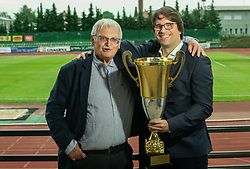 Darko Klaric and Luka Brezovec, president during celebration of NK Bravo, winning team in 2nd Slovenian Football League in season 2018/19 after they qualified to Prva Liga, on May 26th, 2019, in Stadium ZAK, Ljubljana, Slovenia. Photo by Vid Ponikvar / Sportida