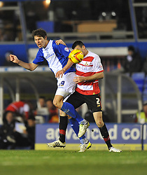Birmingham City's Nikola Zigic flicks the ball past Doncaster Rovers' Paul Quinn - Photo mandatory by-line: Alex James/JMP - Tel: Mobile: 07966 386802 03/12/2013 - SPORT - Football - Birmingham - St Andrews - Birmingham City v Doncaster Rovers - Sky Bet Championship
