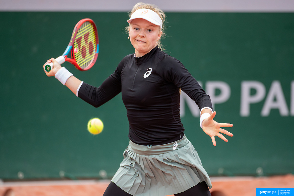 PARIS, FRANCE May 26.  Harriet Dart of Great Britain in action during her victory against Gabriela Talaba of Roumania on day three of the qualifying tournament at the 2021 French Open Tennis Tournament at Roland Garros on May 26th 2021 in Paris, France. (Photo by Tim Clayton/Corbis via Getty Images)