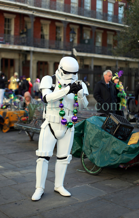 09 February 2016. New Orleans, Louisiana.<br /> Mardi Gras Day. A Storm Trooper at Jackson Square in the French Quarter.<br /> Photo©; Charlie Varley/varleypix.com
