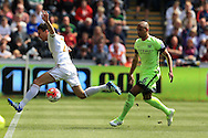 Jack Cork of Swansea city (l) is tackled by Fernando of Manchester city. Barclays Premier league match, Swansea city v Manchester city at the Liberty Stadium in Swansea, South Wales on Sunday 15th May 2016.<br /> pic by Andrew Orchard, Andrew Orchard sports photography.