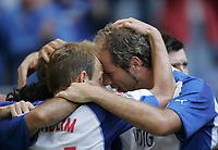 Fotball<br /> Bundesliga Tyskland<br /> Foto: Witters/Digitalsport<br /> NORWAY ONLY<br /> <br /> Jubel 1:1 HSV v.l. David Jarolim, Sergej Barbarez<br /> Bundesliga Hamburger SV - Hannover 96