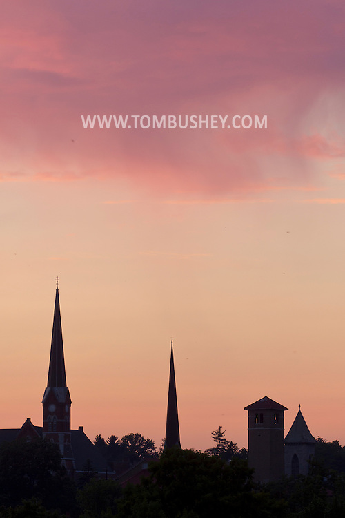 Middletown, New York -A view of church steeples at sunset on Aug. 18, 2013.